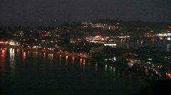 Skyline China Hong Kong Cheung Chau island night Stock Footage