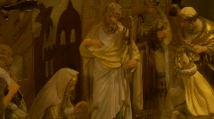 Old World Nativity, Creche, pan down 3 Stock Footage