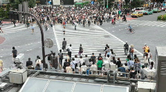 Crowd at Hachiko Crossing in Shibuya Stock Footage