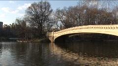 Central Park Footbridge at Sunset 1 Stock Footage