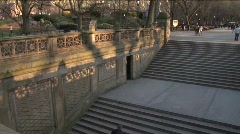 Stairs in Central Park illuminated by the sunset 1. Stock Footage