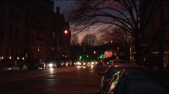 Stock Video Footage of Night cabs and cars drive on NYC street.