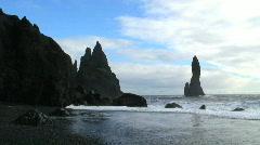 Black Rocks near Vik Iceland Stock Footage