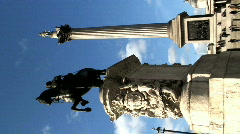 Vertical Trafalgar Square and Nelsons column London Stock Footage