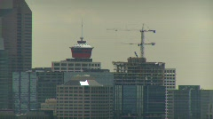 Calgary skyline and cranes, extreme long shot Stock Footage