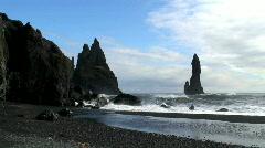 Black rocks (Time Lapse) of Vik Iceland Stock Footage