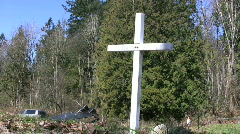 White Cross Memorial By The Road (HD 1080p30) Stock Footage