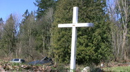 Stock Video Footage of White Cross Memorial By The Road (HD 1080p30)