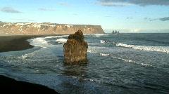 Promontory Stack Vik coast line Iceland Stock Footage