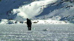 Ice Fisherman Tasiilaq Greenland Stock Footage
