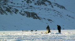 Ice fishing Tasiilaq Greenland Stock Footage