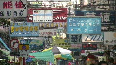 China Hong Kong downtown Chinatown crowds Sham Shui Po Apliu street market Stock Footage