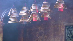 Chinese Buddhist temple spiral incense burning air pollution Stock Footage