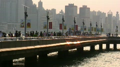 China Hong Kong skyline harbour harbor Stock Footage