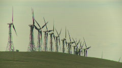 Stock Video Footage of wind turbines on ridge, #4