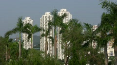 China Hong Kong skyscrapers public housing estate apartment property Stock Footage