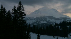 Mt Rainer, dusk, Chinook Pass Stock Footage