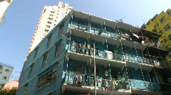 China Hong Kong Wan Chai nostalgic blue house - stock footage