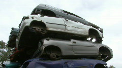 Pile of cars on scrap yard Stock Footage