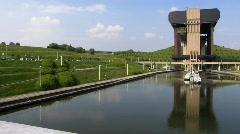 Europe Belgium Ship canal lift Schiffshebewerk von Strepy-Thieu Stock Footage