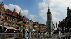 Europe Belgium Kortrijk Grand Place square Grote Markt Stock Footage