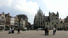 Europe Belgium Flanders Mechelen Town hall Grote Markt Stock Footage