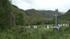 Glendalough Graveyard with Celtic Cross Stock Footage