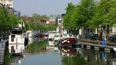 Europe Belgium Flanders Mechelen waterway canal Stock Footage