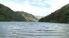 Glendalough Main Lake with Mountains Stock Footage