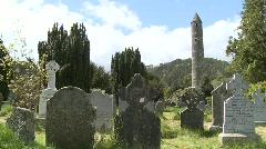 Glendalough Graveyard Tower Pan Stock Footage