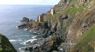 Stock Video Footage of Ruined tin mine pumping engine houses at Botallack Cornwall