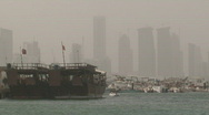 Stock Video Footage of Qatar Corniche Boats 1