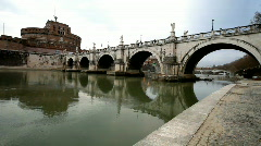 Castel Sant'Angelo Bridge in Rome Stock Footage