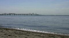 Chesapeake Bay Bridge Wideshot Stock Footage