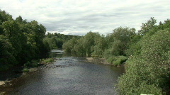 River Tees at Piercebridge on a summers day looking upstream Stock Footage