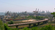 Stock Video Footage of Bridge traffic industrial area