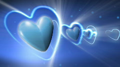Animated Hearts with Glowing Rays Wedding Backgrounds Stock Footage