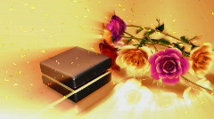 Animated Wedding Ring with Flowers Stock Footage