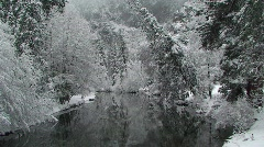 Merced River with Snow Covered Trees, Yosemite National Park - stock footage