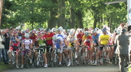 Cyclists preparing to start Stock Footage