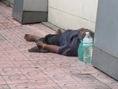 Stock Video Footage of Homeless Man Sleeping On Sidewalk