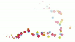 Animation of Swirl Flowers flying on white background, alpha channel included Stock Footage