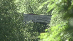 Zoom out from bridge at Piercebrige along River Tees Stock Footage