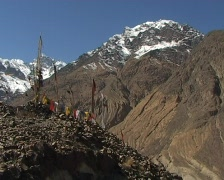 Buddhist prayer flags in the mountains. Tibetan Prayer Flags Stock Footage