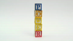 Wooden building blocks POWER - HD  Stock Footage