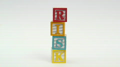Wooden building blocks RISK - HD  Stock Footage
