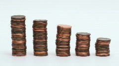 Growing penny stacks - HD  - stock footage