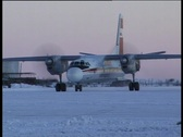 Landing on icy airfield Stock Footage