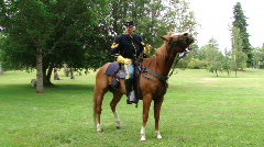 Union cavalry sergeant and his horse  642-1 Stock Footage