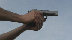 Gun fire blue sky Stock Footage